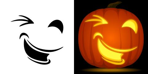 Free Winking Pumpkin Stencil Pumpkin Stencil Pumpkin Carving Pumpkin Carvings Stencils