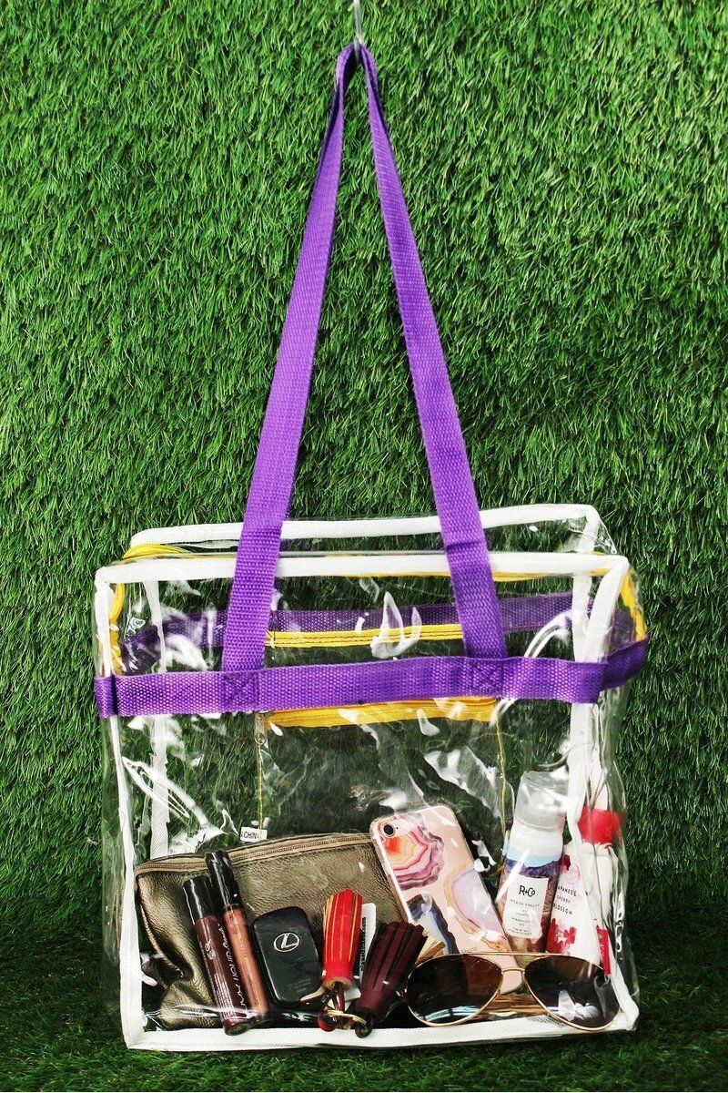 Clear Stadium Tote Bag with Purple /Yellow/White Trim