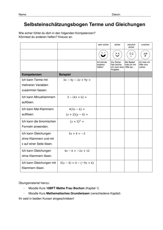 Checkliste Terme Gleichungen Unterrichtsmaterial Im Fach Mathematik Gleichungen Checkliste Klassenarbeiten