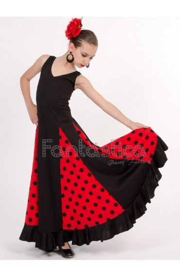 e9536e598 Vestido de Flamenca / Sevillana para Niña y Mujer Color Rojo y Negro ...