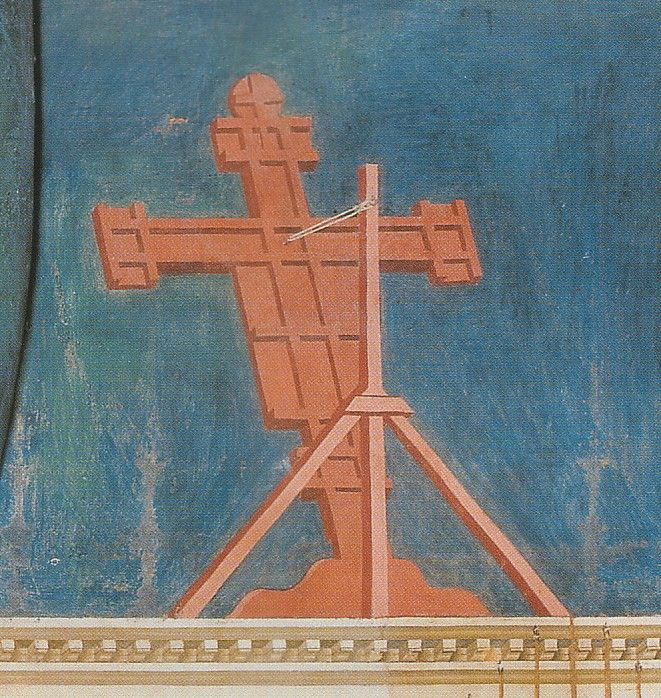 "This a rare view of the back of a cross. During the 13th c crosses were often tilted toward the congregation to make it ""look down"" on them, Christmas Mass at Greccio. 1295-1300 by Giotto Church of St Francis, Assisi, Italy"