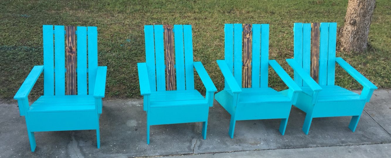 4 Adirondack Chairs with burnt wood accent sold this morning.