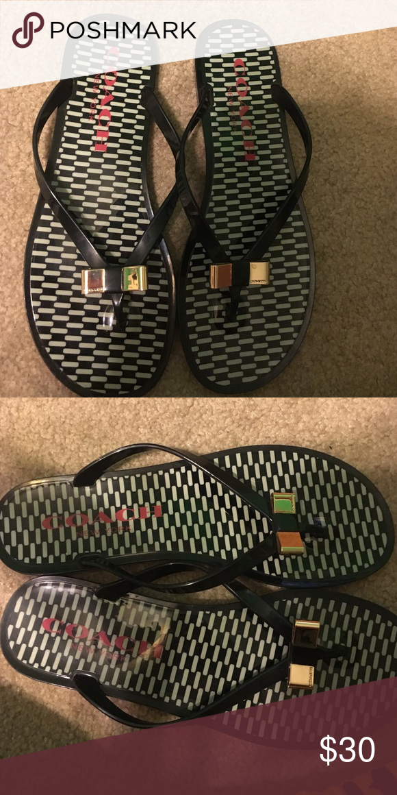 13644138d1f4 Coach flip flops Black coach flip flops with gold bow detailing! Size 9  only worn