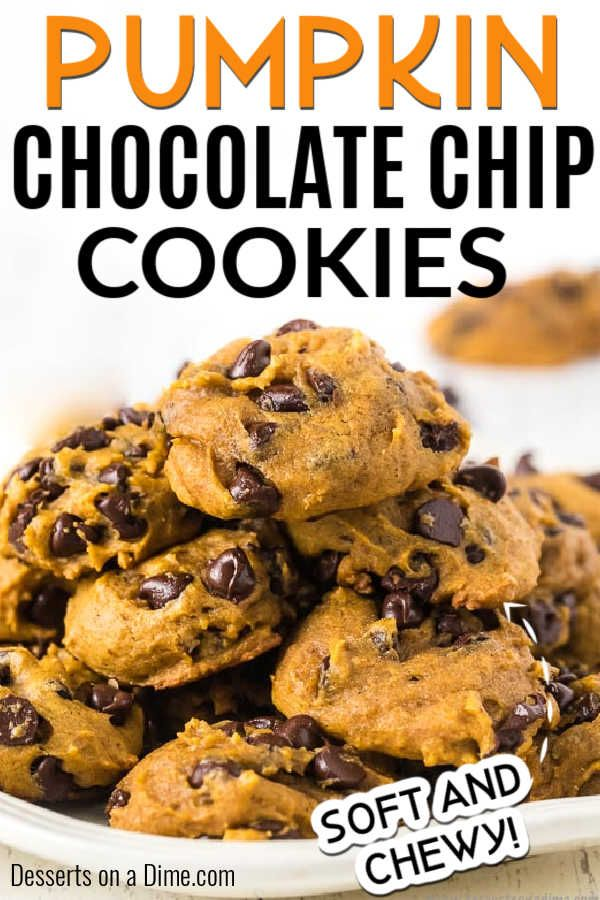 Pumpkin chocolate chip cookies - easy pumpkin choc