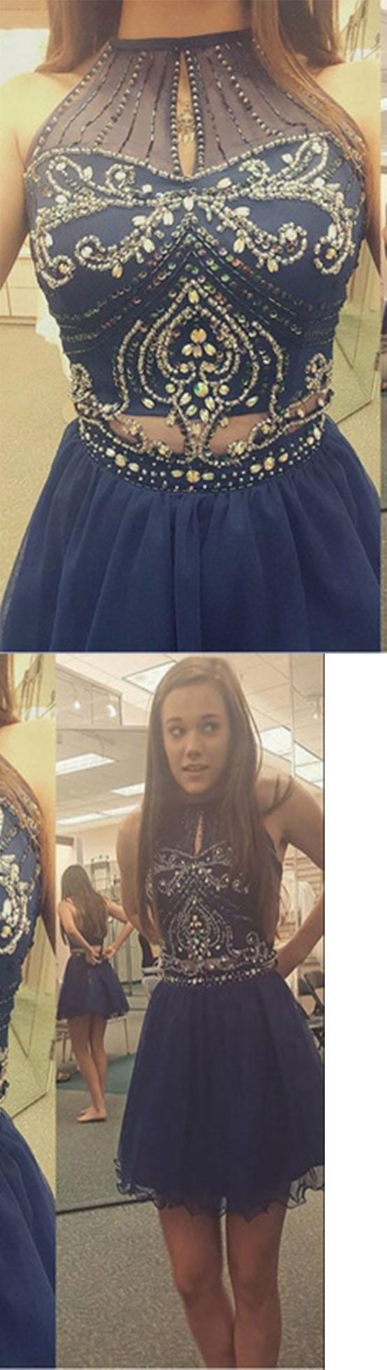 Prom dresshigh neck halter navy tulle skirt two piece short prom