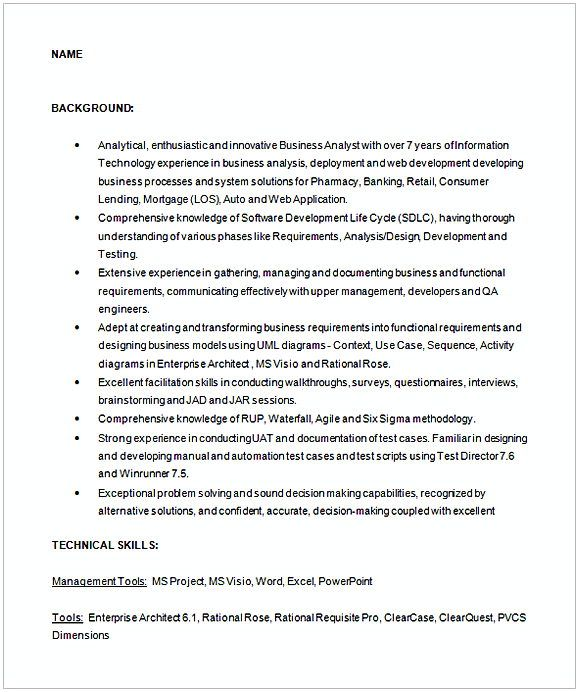 business analyst sample resume 1 , Entry Level Business Analyst