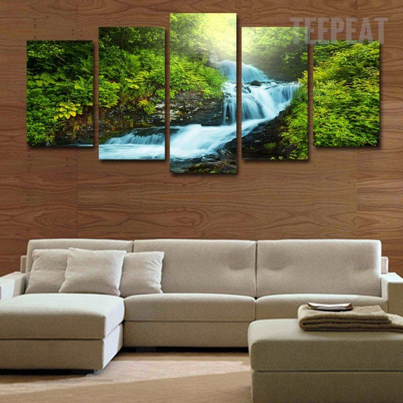 """YELLOW TREES FOREST WATERFALL CANVAS WALL ART PICTURE 4 PANEL SPLIT  ARTWORK 40/"""""""