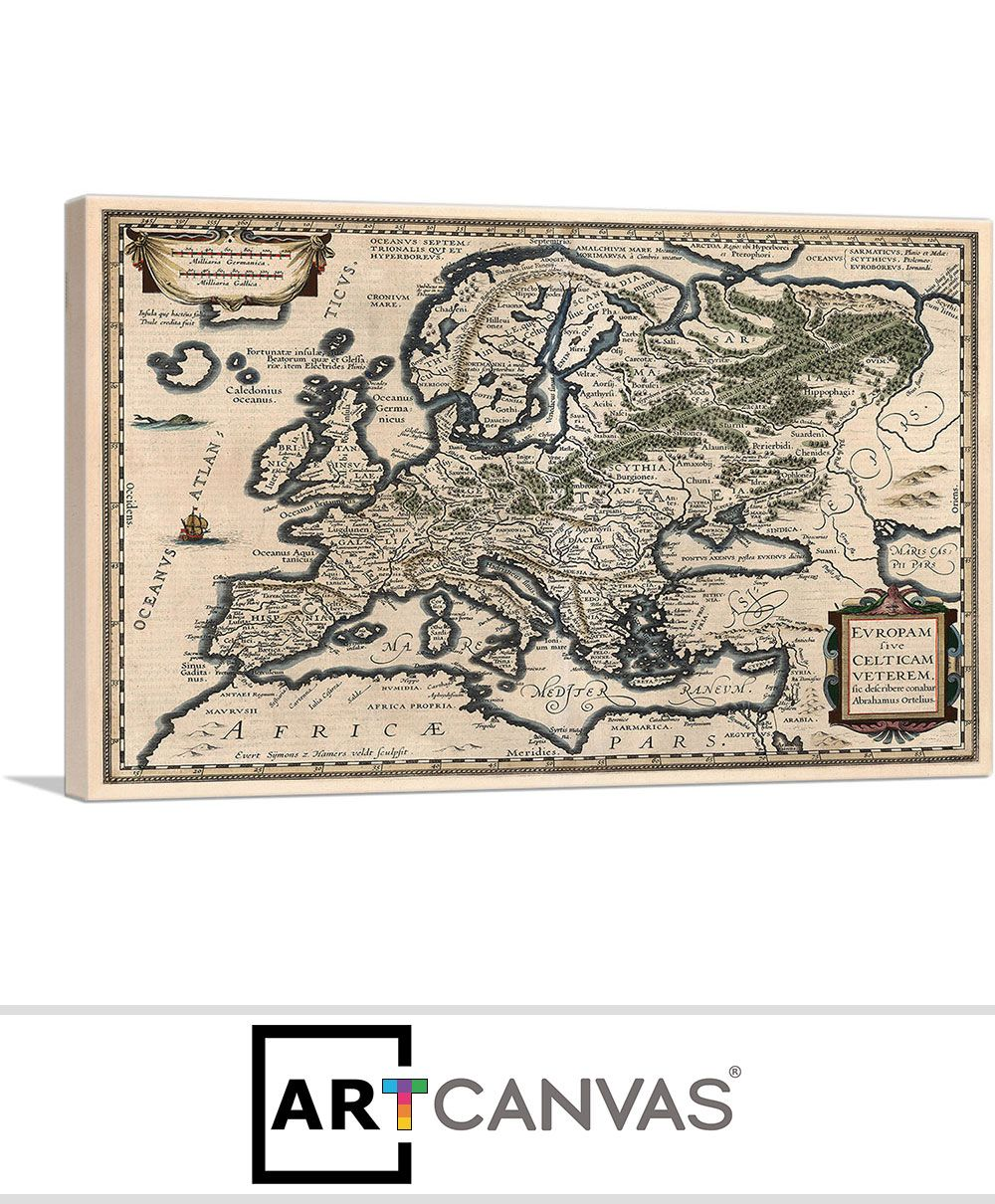 Map Of Europe For Sale.A Semi Ptolemaic Map Of Europe 1618 Canvas Art Print For Sale