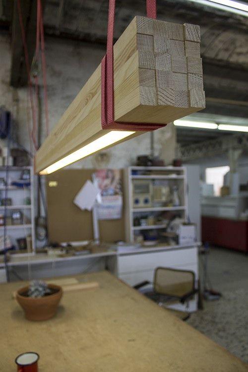 Rough Wood Strips Pendant Beam