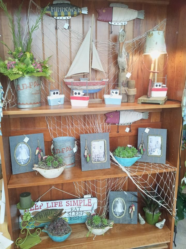 Fishing Cabin display- small gifts and plants