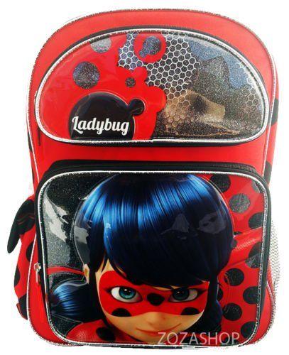 """New Nickelodeon Miraculous Ladybug 16/"""" Large School Backpack"""