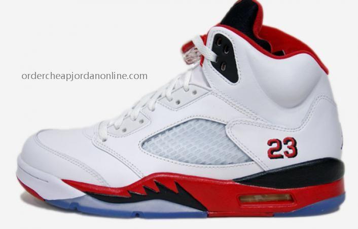 new arrival d4388 fd116 136027-120 Air Jordan 5 White Fire Red-Black MEN SIZE Jordan Shoes