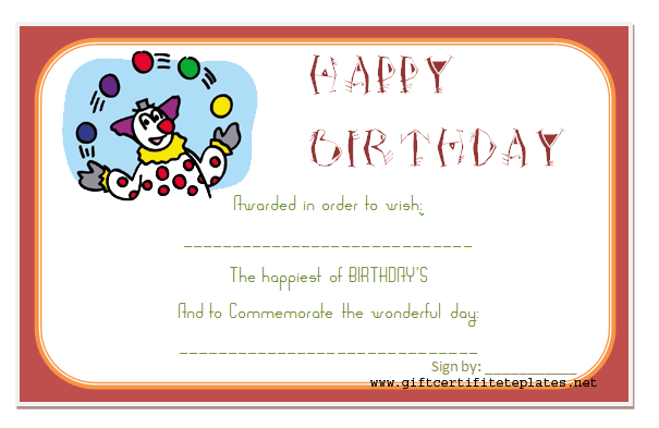 Fun Day Birthday Gift Certificate Template Beautiful Printable