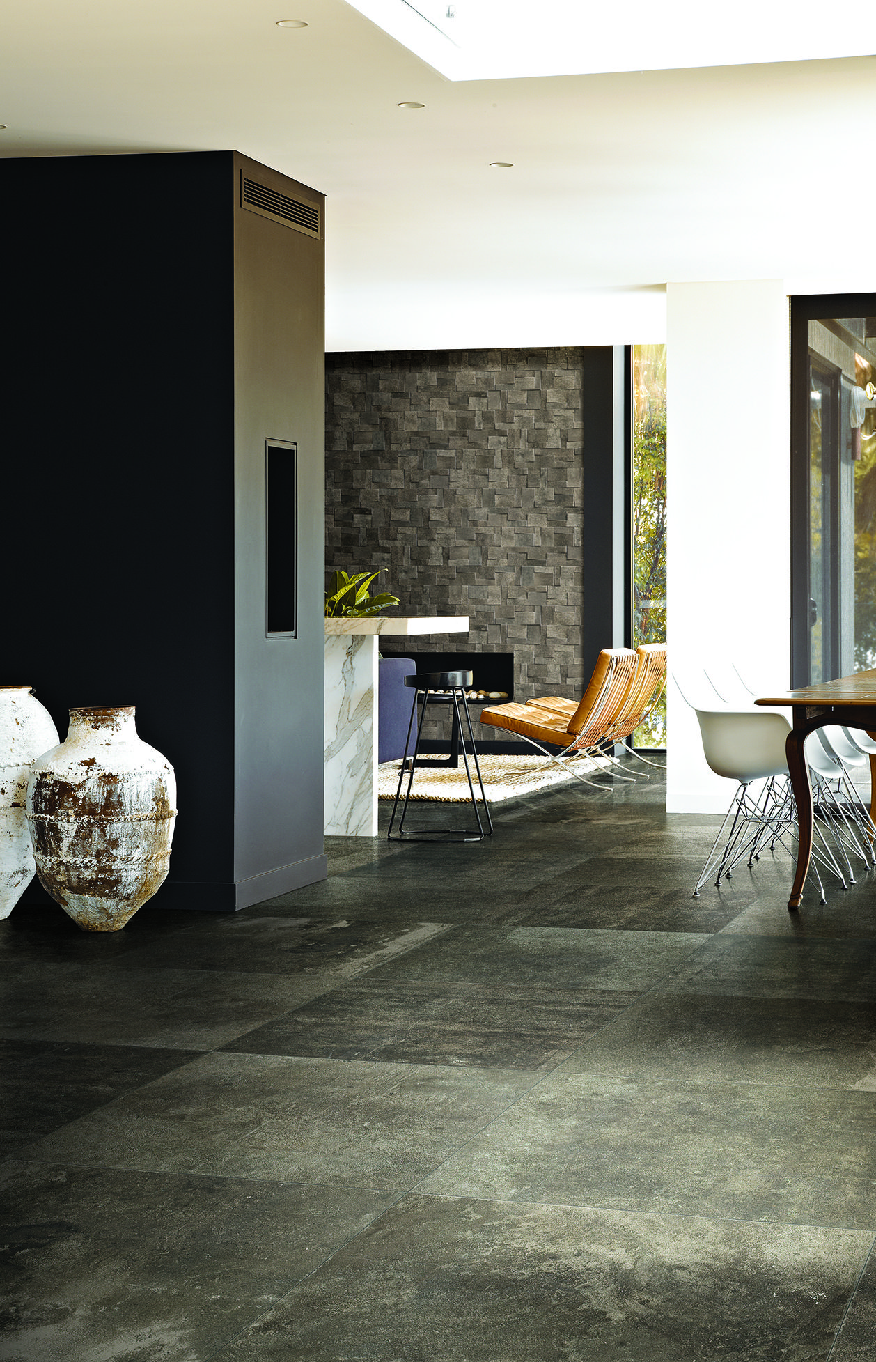 La roche by rex mud stone inspired glazed porcelain with for Carrelage stone