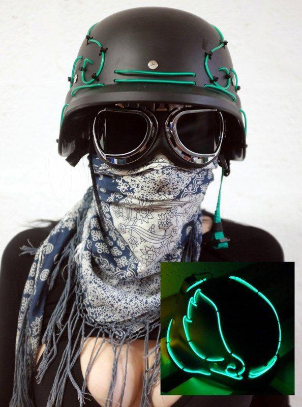 EL wire Helmet - Black/Green - mad max, apocalypse, burning man ...