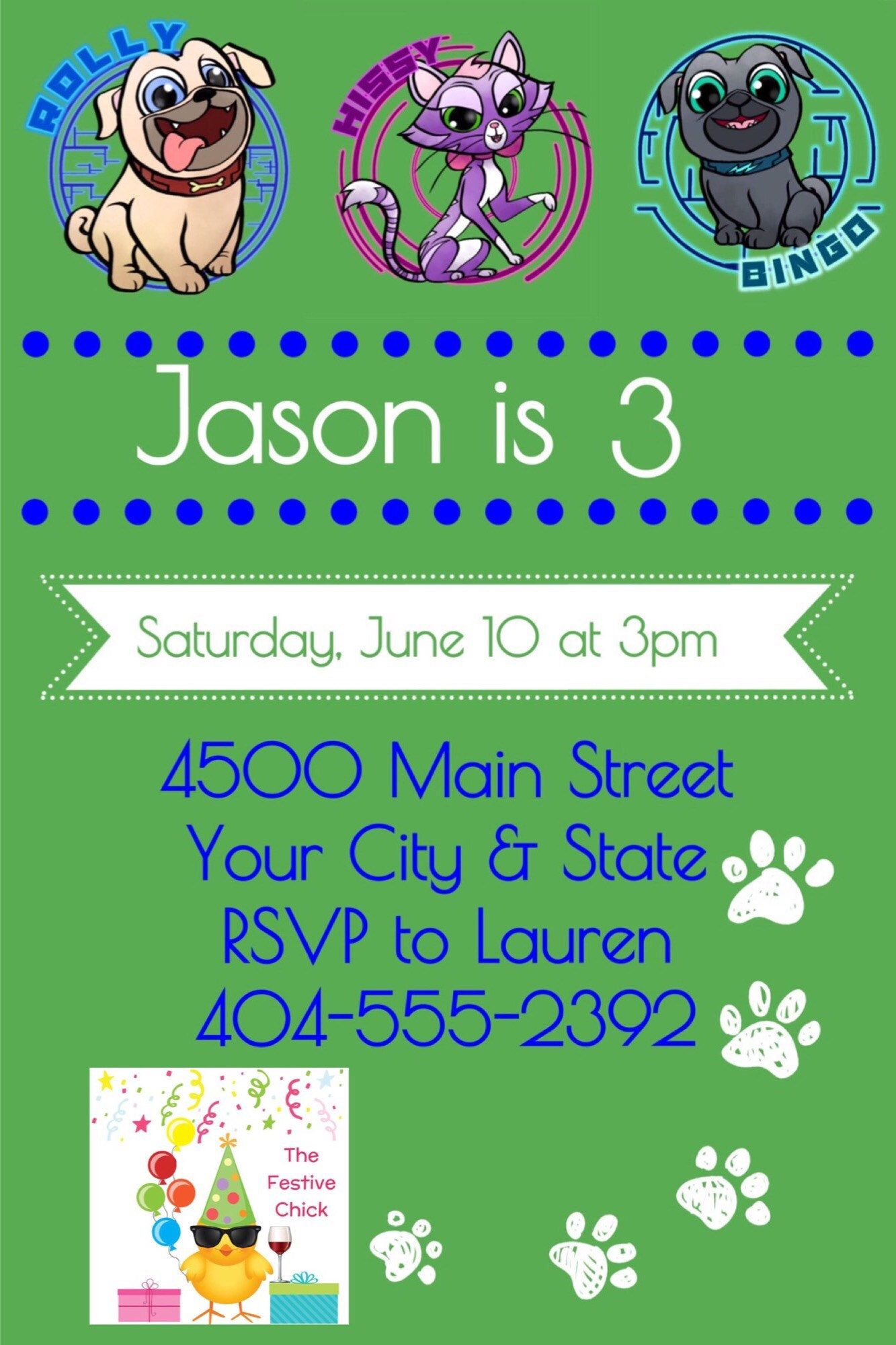 Puppy Dog Pals Invitations , Rolly, Bingo, Disney Junior by ...