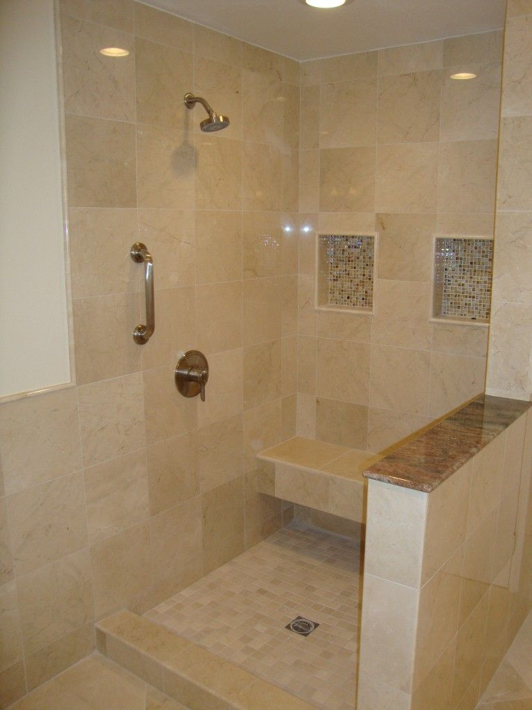 Crema Marfil Marble Shower | Bath Renovation | Pinterest | Marbles ...