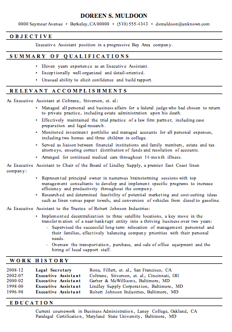 Resume Sample: Executive Assistant | Workspace ...