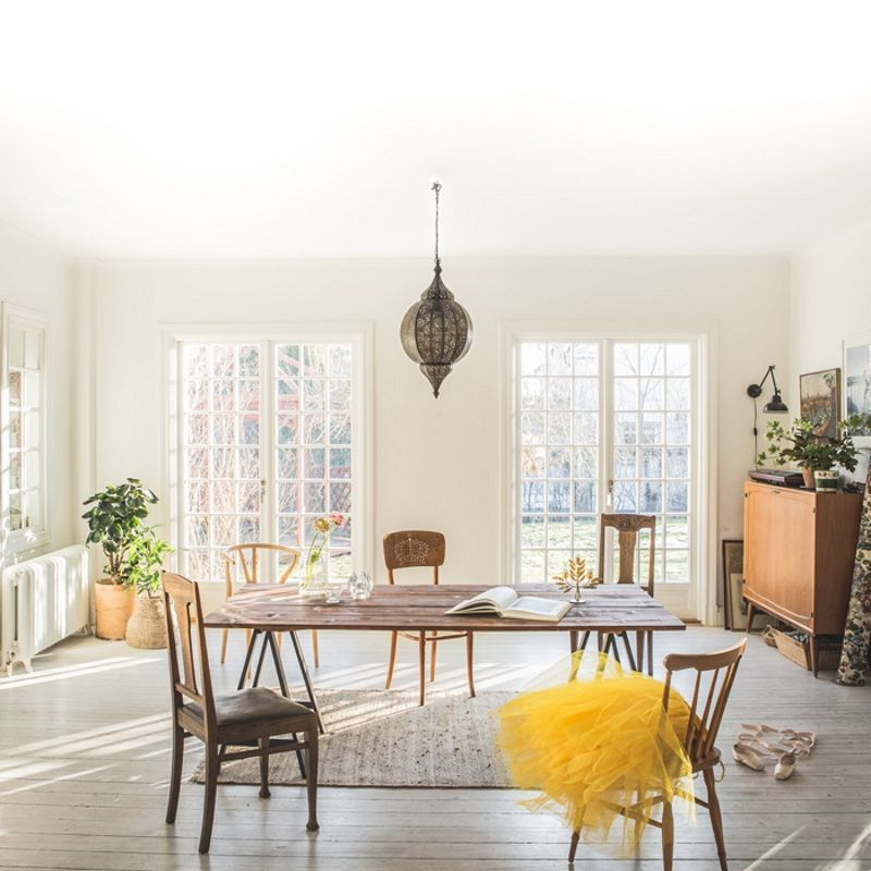 open and airy rustic modern scandinavian style interior.
