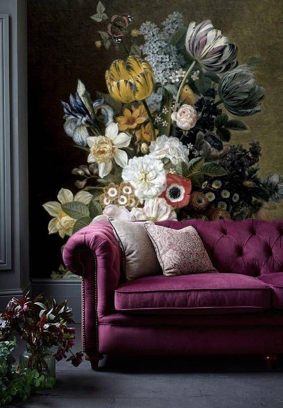 Dutch Vintage Floral Wallpaper Mural Remove, Dark Floral