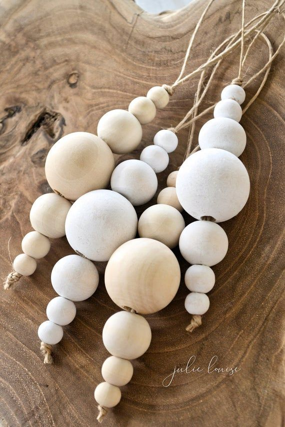 Wood Bead Christmas Bauble White or Natural Decoration Home Decor Farmhouse Tree Decorations Boho Rustic 30mm Beads EcoFriendly Julie Louise