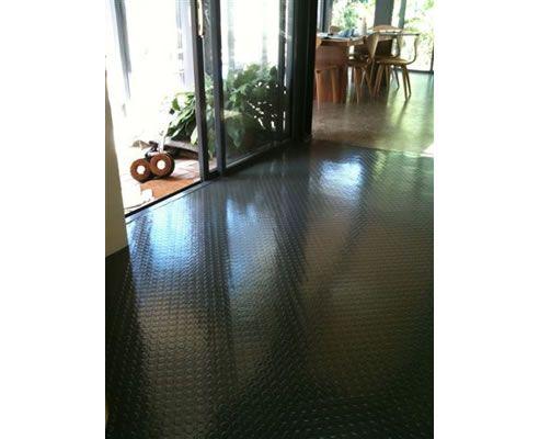 rubber floor, black studs on the diagonal^ Floors FOLLOW THE