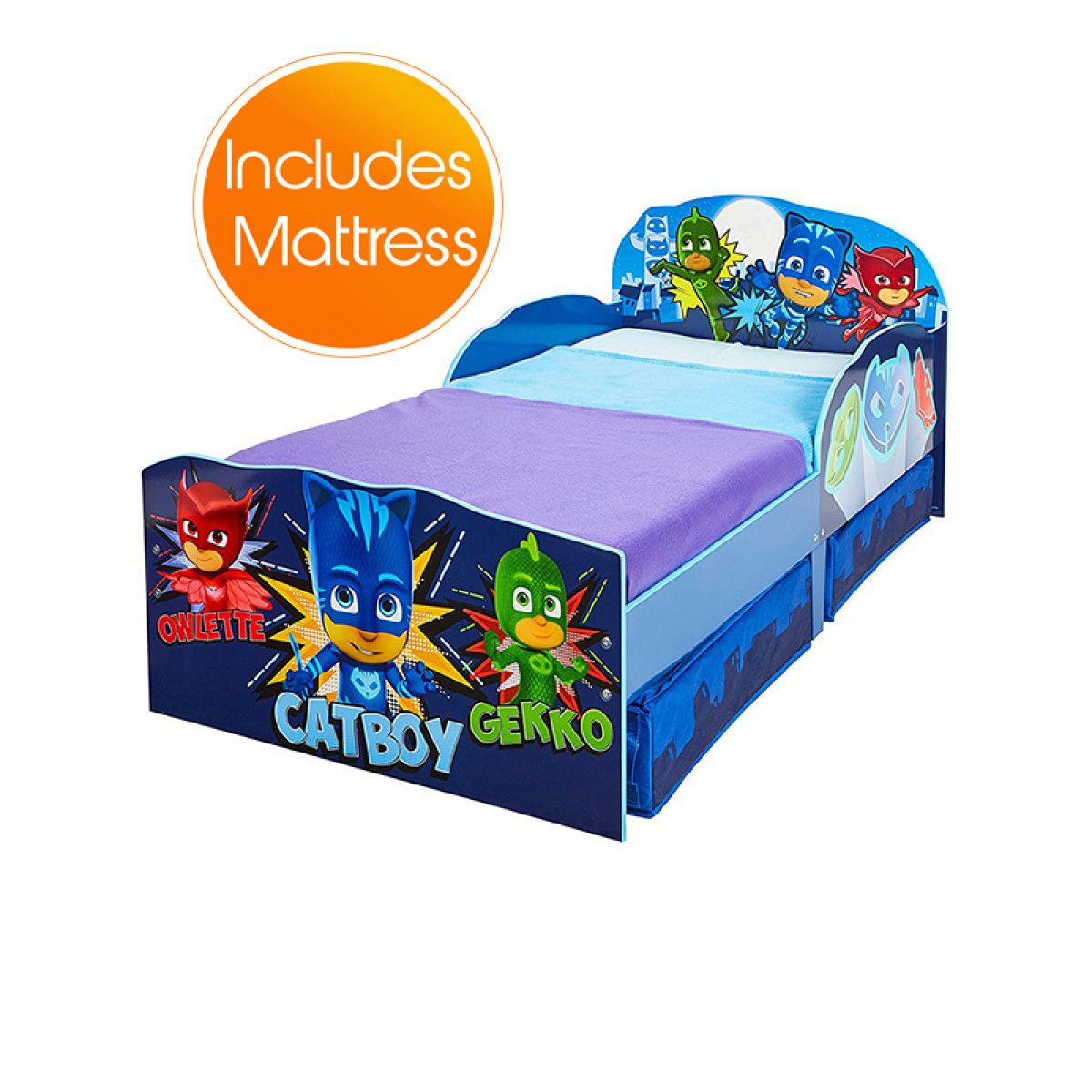 Pj Masks Toddler Bed With Storage Plus Deluxe Foam Mattress