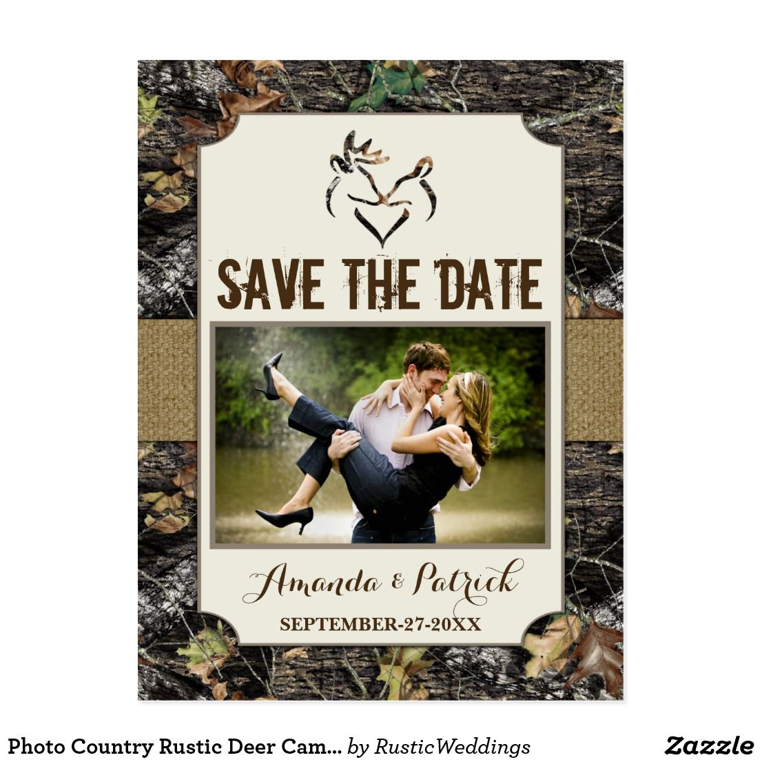 Photo Country Rustic Deer Camo Save The Date Cards