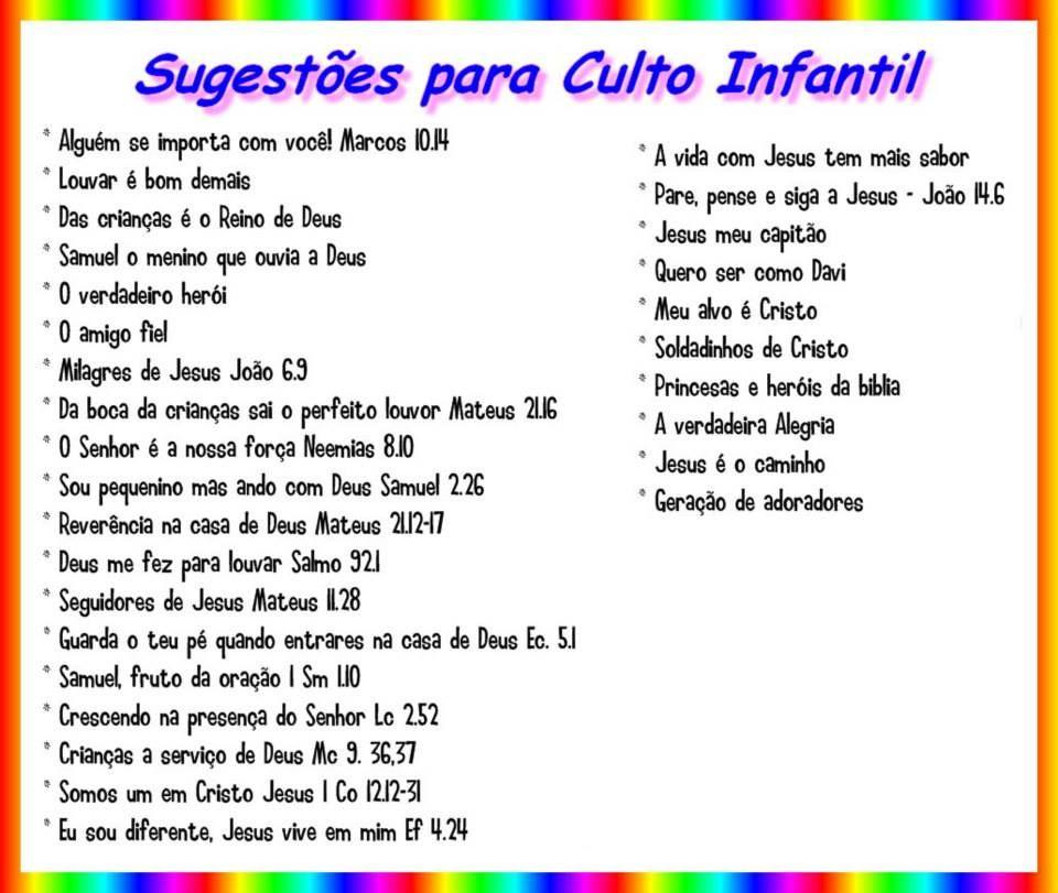 Populares Sugestões para Culto Infantil | bau de ideias ministerio infantil  IT61