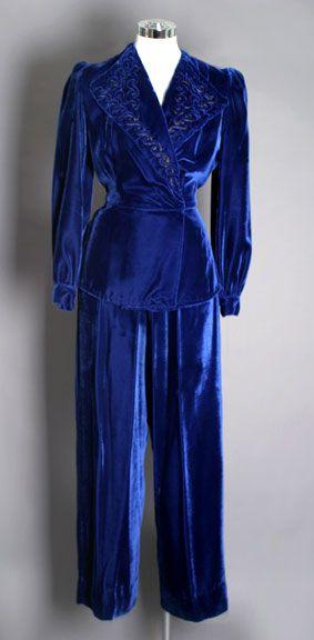 Vintage Blue Silk Velvet Pant