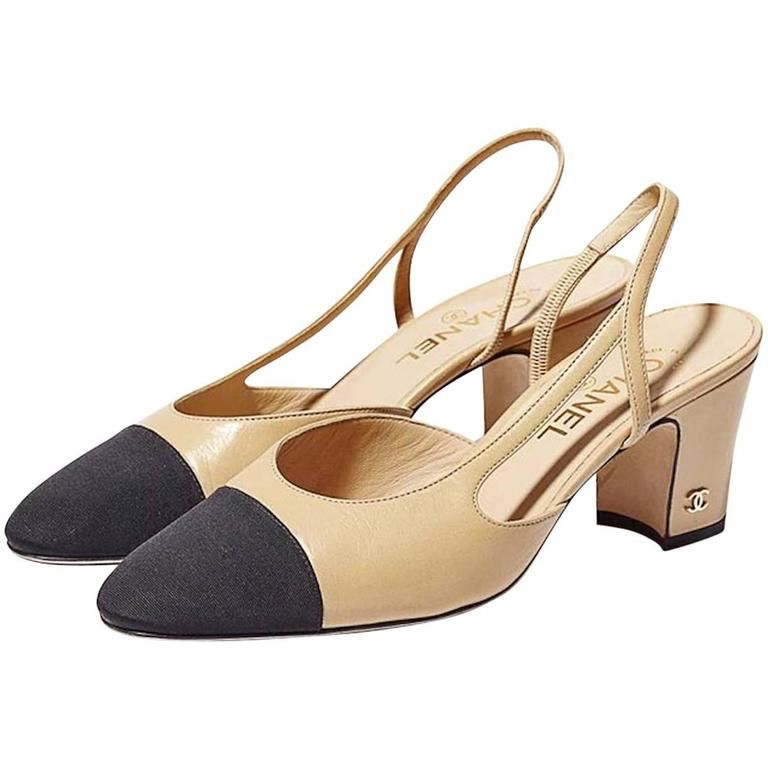 03b8cedc098 Chanel NEW   SOLD OUT Black Beige Tan Leather Cap Toe Slingback Heels in Box