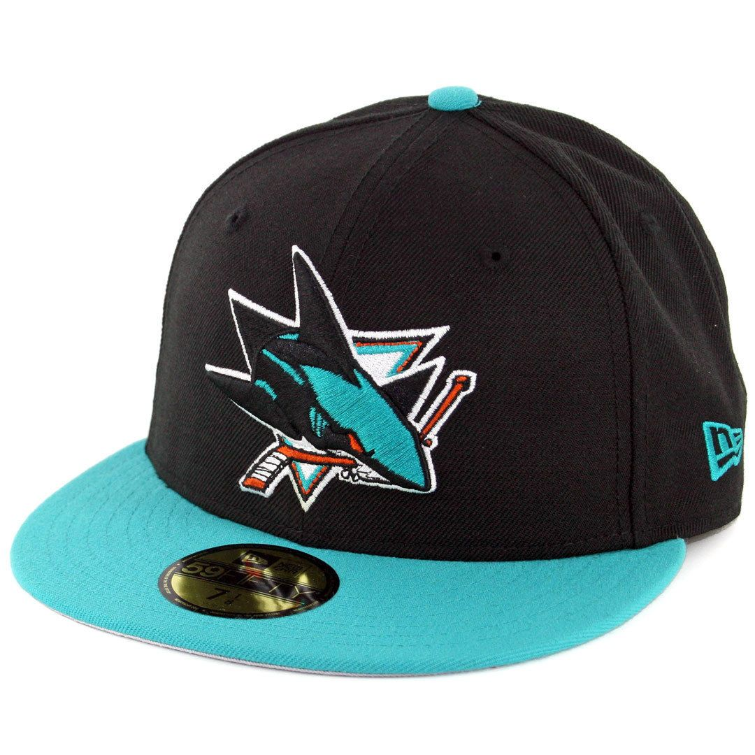 Era 59Fifty San Jose Sharks Fitted Hat (Black Teal) Men s Nhl Hockey Cap 4490e78ad2