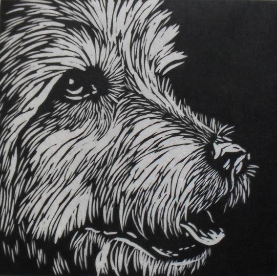 Handprinted linocut dog uk people animals and
