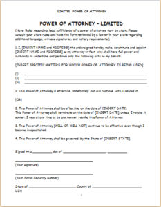 Limited Power Of Attorney Form Download At HttpWwwTemplateinn