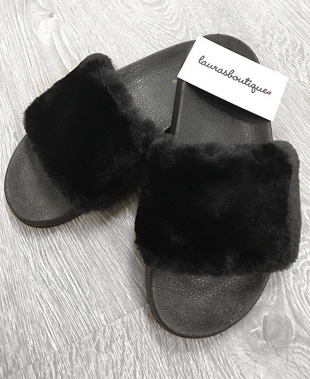 Black Fuzzy Slippers