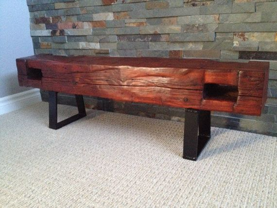 1860 reclaimed barn beam bench by stantonswoodworking on