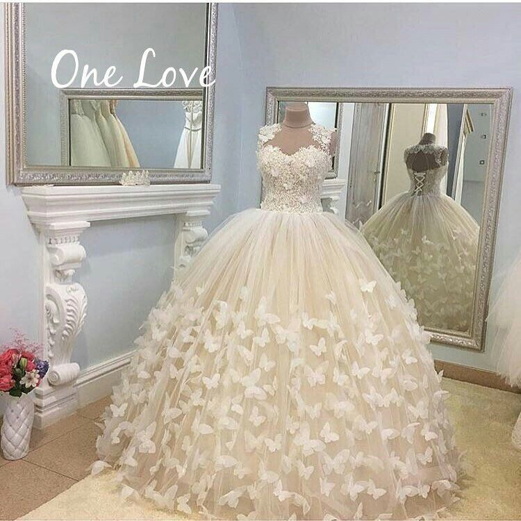 Amazing Butterfly Ball Gown Long Sleeves Wedding Dress Bridal