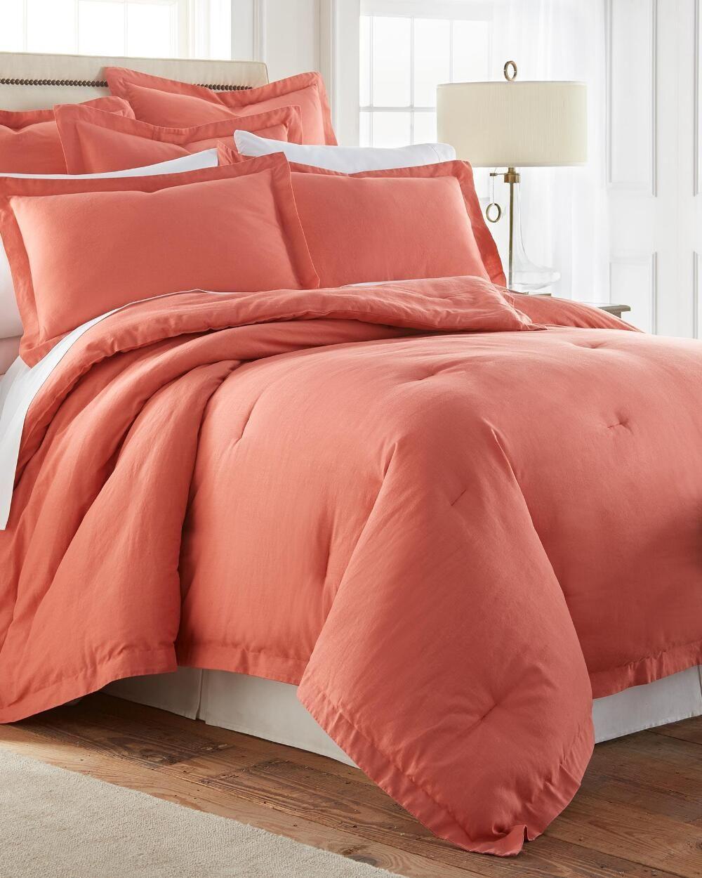3 Piece Burnt Coral Linen Blend Comforter Set Comforters Bedding Bed Bath Stein Mart Luxury Bedroom Design Comforter Sets Luxurious Bedrooms