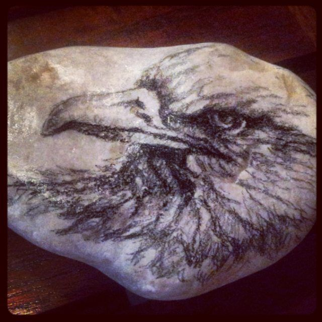 "RM 10 L'p - birdie 01 4.5"" x 3"" charcoal/pencil drawing on stone"
