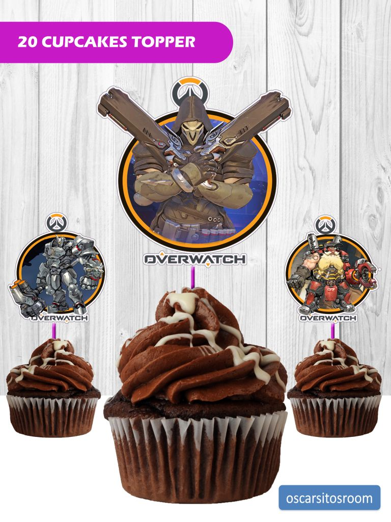 20 OVERWATCH CUPCAKE TOPPERS | Cupcake cakes, Cupcake ...