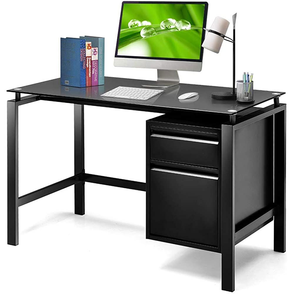 Amazon Com Black Computer Desk With Drawers 46 Home Office Desk With Storage Drawers Greenvelly Modern Black Computer Desk Simple Writing Desk Desk Storage Home office desk with storage