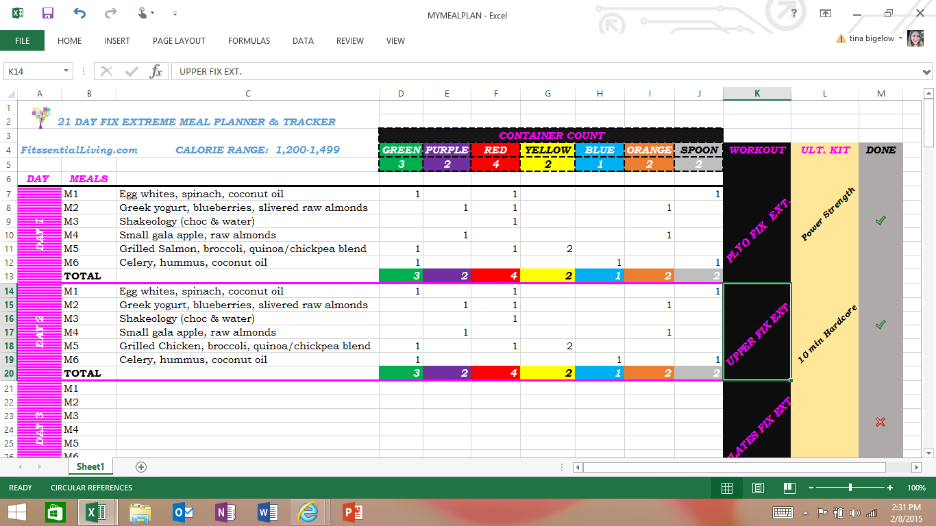 Free Excel Spreadsheet Meal Planner and Tracker For All