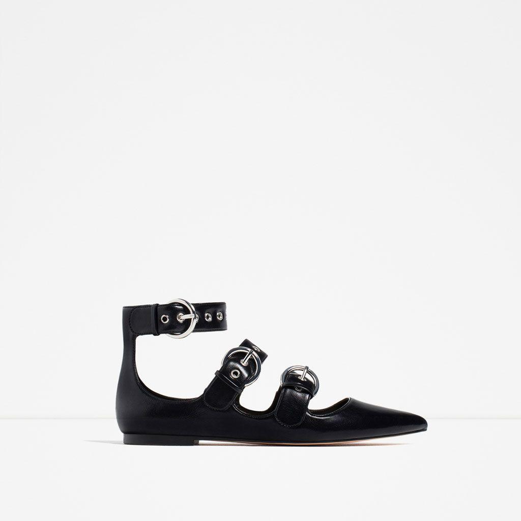 Zapato plano con detalle de hebilla y detalle de zapatos planos de mujer cC7QOsV