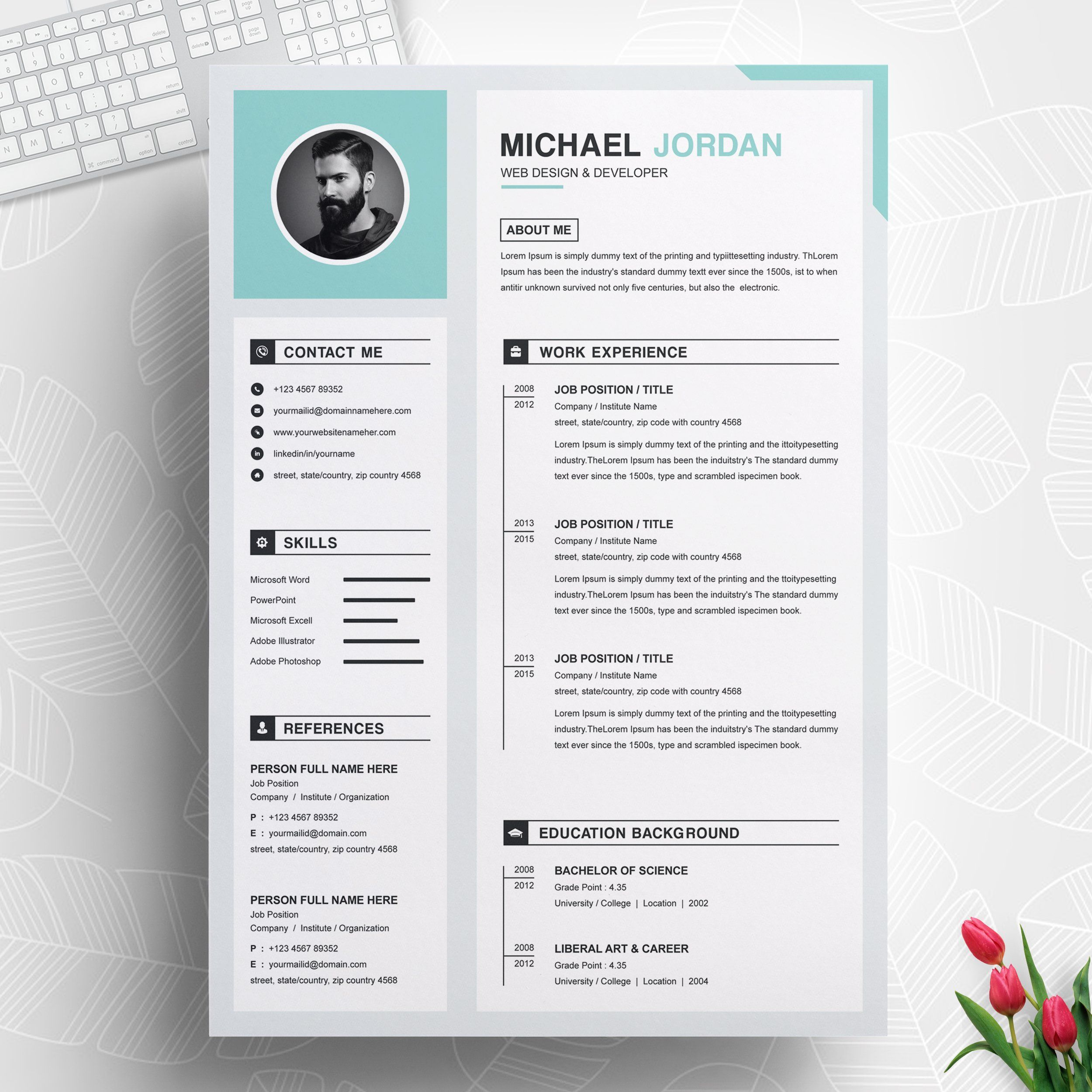 One Page Clean Resume + Cover Letter Resume design