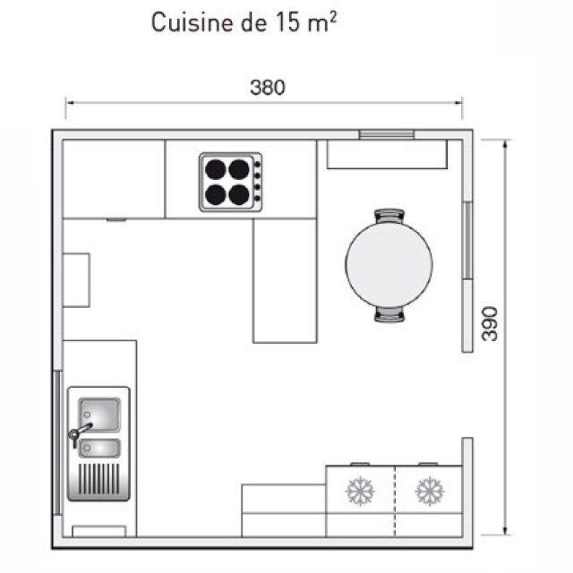 Plan De Cuisine En L Avec Espace Repas Délimité Par Un Comptoir - Plan de cuisine en l