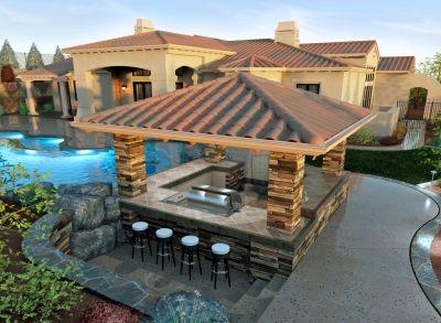Pool Bar Grill Area Outdoor Backyard Backyard Pool Pool Bar