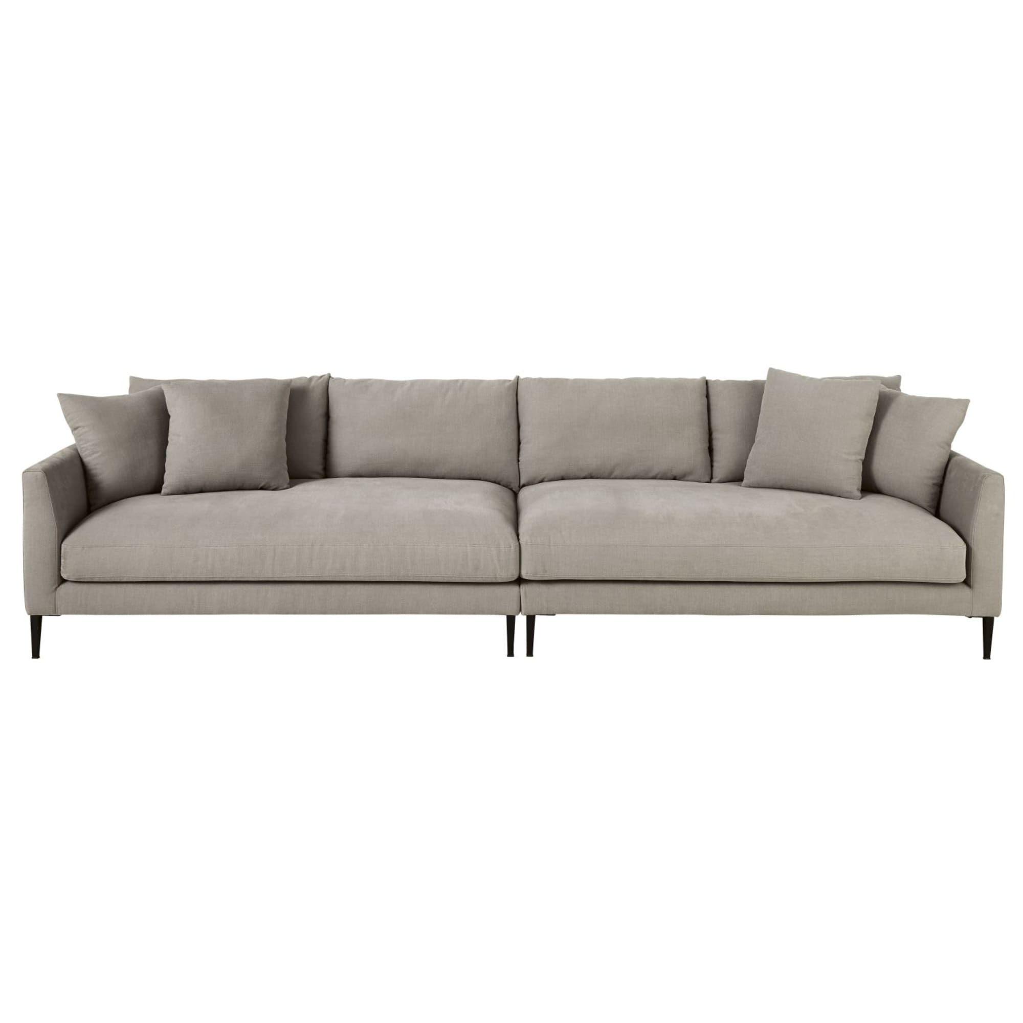 Canape 5 6 Places En Coton Et Lin Gris Clair Sofa Linen Sofa
