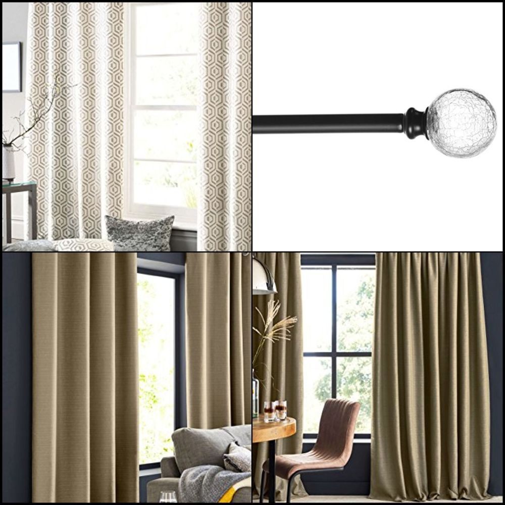 Crackled Glass In Pewter Curtain Rod Adjustable Length With 2