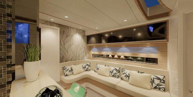 Tons pastel, com madeira, vidro, tecidos e couro sintético. Nas paredes, papeis e texturas anti-umidade completam a decoração sofisticada desta embarcação