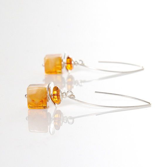 CHRISTMAS SALE ! Honey, Milky, Golden Natural Amber Dangle Earrings Cube Beads Faceted Amber Silver 925 Details Amber Jewelry